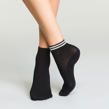2 Pack black women's low socks in cotton and lurex, , DIM