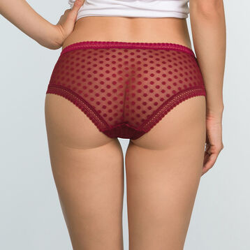 Women's polka dot mesh shorty in Cherry Red Dotty Mesh Panty Box, , DIM