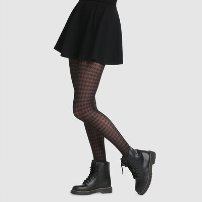 Dim Style 42D black houndstooth print fancy tights, , DIM