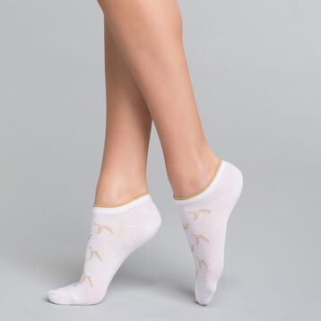 White and golden ankle socks - Dim Coton Style, , DIM