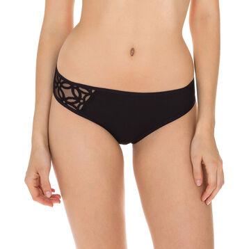 Generous MOD embroidered microfibre bikini knickers in black, , DIM