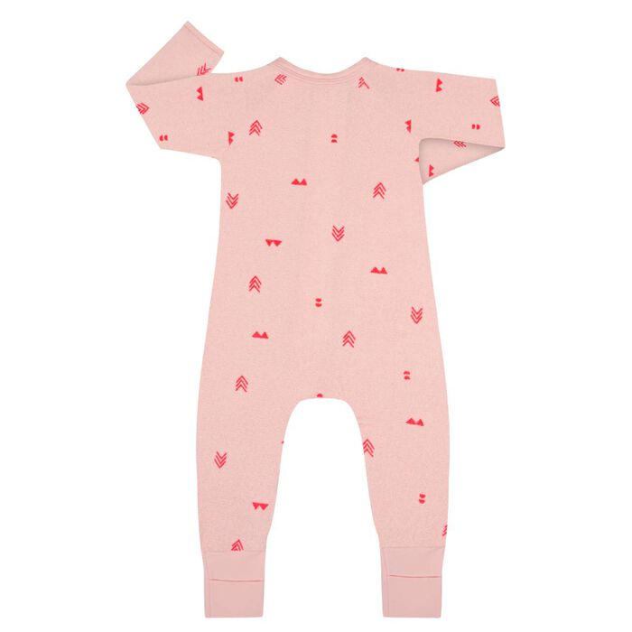 Indian Pink Zipped Pyjama in Terry Cotton Dim Baby, , DIM