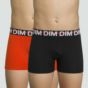 2 pack stretch cotton boxers for boys in Pumpkin color Eco Dim, , DIM