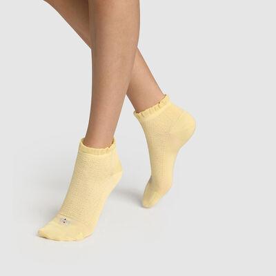 Женские носки с принтом шотландская полоска и желтой оборкой Dim. Сделано во Франции, , DIM