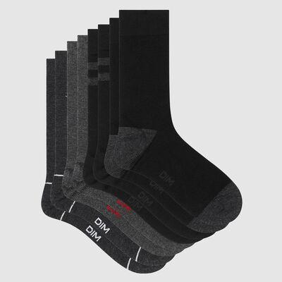 Pack of  4 pairs of men's socks with navy motif in Les Bons Plans Grey, , DIM