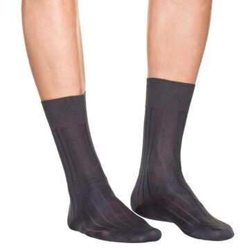Pack of 2 pairs of dark grey lisle socks for men, , DIM