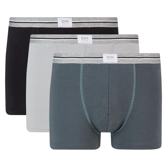 Ultra Resist 3 pack resistant stretch cotton trunks in black and steel grey, , DIM