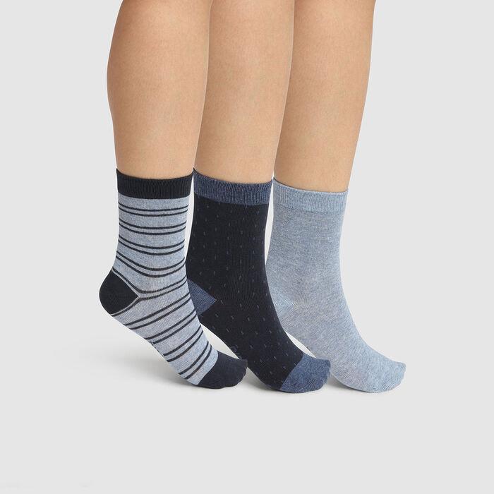 lot de 3 paires de chaussettes à pois et lignes Denim Kids Coton Style, , DIM