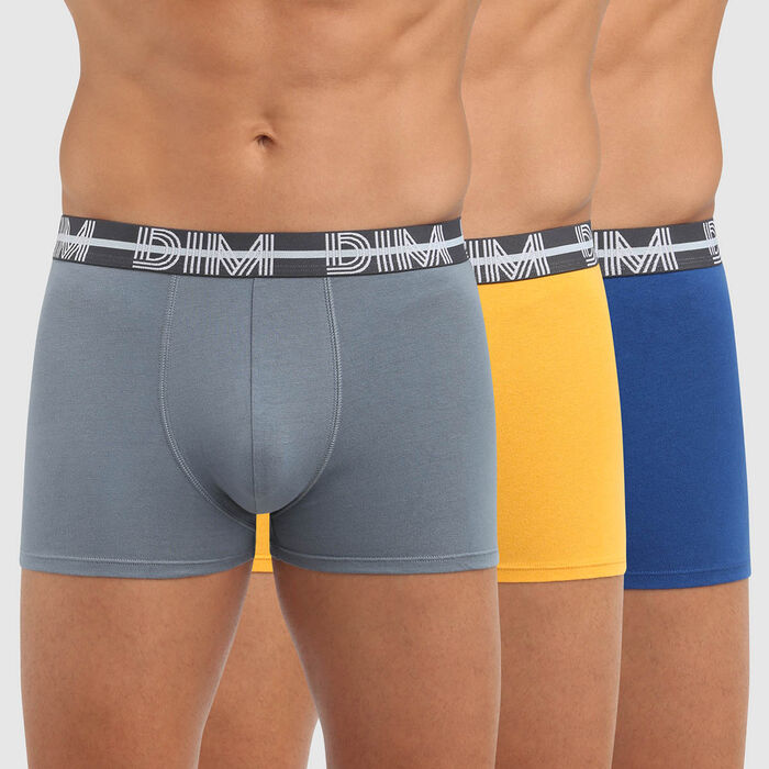 Lot de 3 boxers coton stretch ceinture graphique bleu Dim Powerful , , DIM