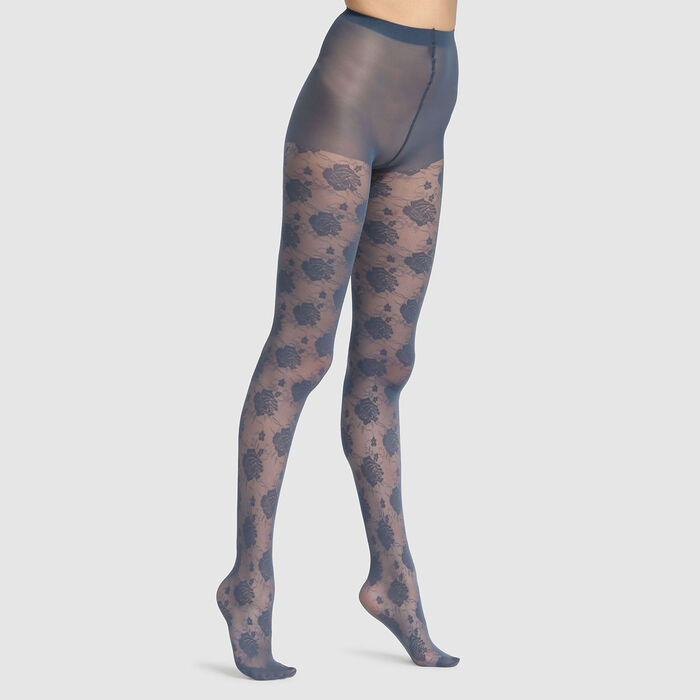 Dim Style 20D fancy tights in petrol blue with rose print, , DIM