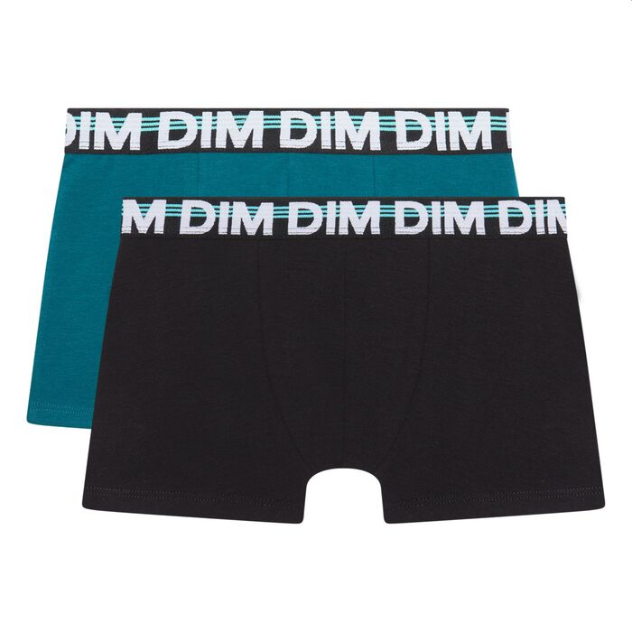 Pack of 2 boy's boxers cotton stretch graphic belt Black Eco Dim, , DIM