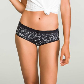 2 pack Ecodim microfiber shortys in Black and Leaf Print, , DIM