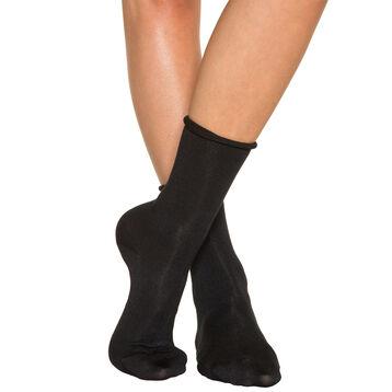 Pack of 2 pairs of black cotton modal socks for women, , DIM