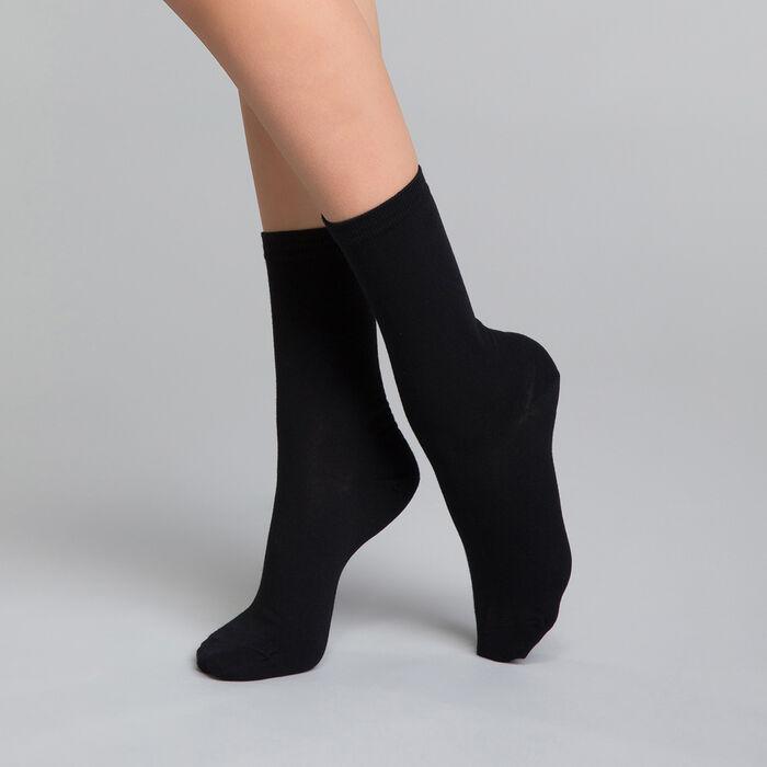 Chaussettes femme noires en coton - DIM Basic Coton, , DIM