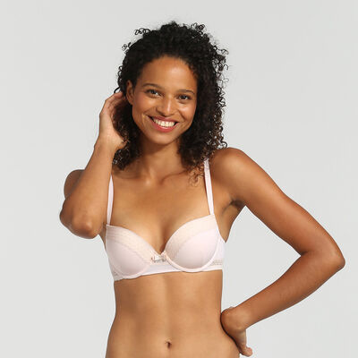 Dim Trendy Micro ballerina pink underwired push-up bra, , DIM