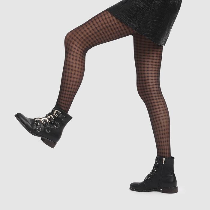 Collant imprimé vichy noir Style de Dim 20D, , DIM