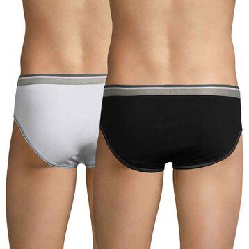 Set of 2 Long Life black and white men's briefs - DIM