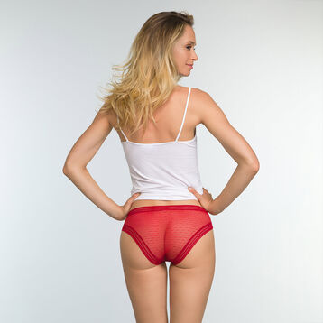 2 pack Sexy Transparency cotton and lace briefs in Brown and Red, , DIM