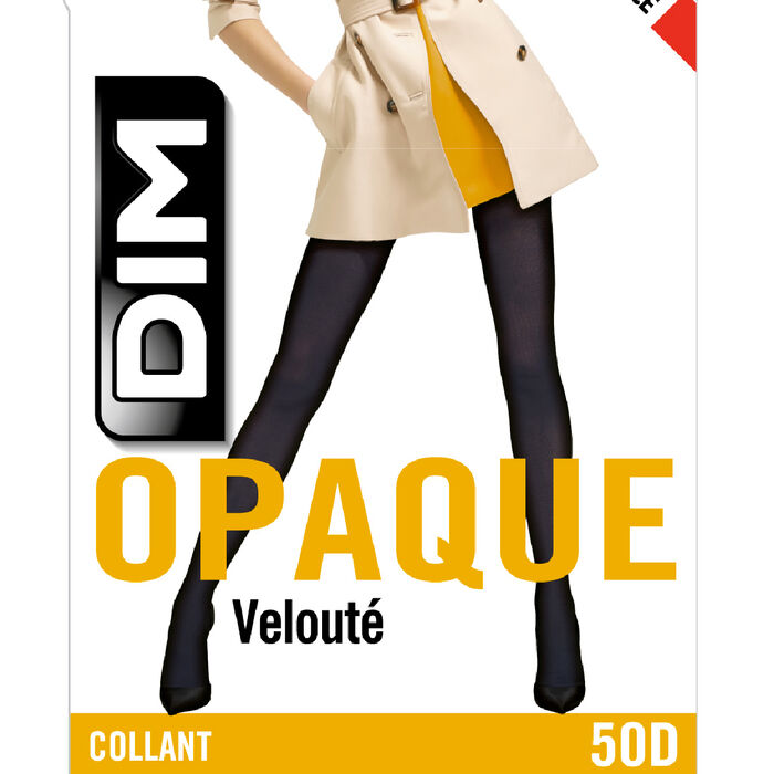 Collant gris charbon opaque veloulé Style 50D, , DIM