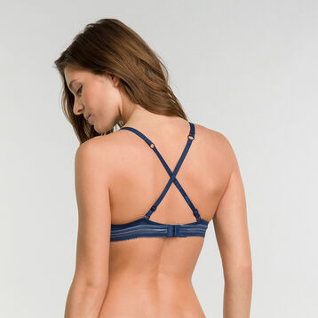 Padded balcony bra in summer night blue - Dim Invisifit, , DIM