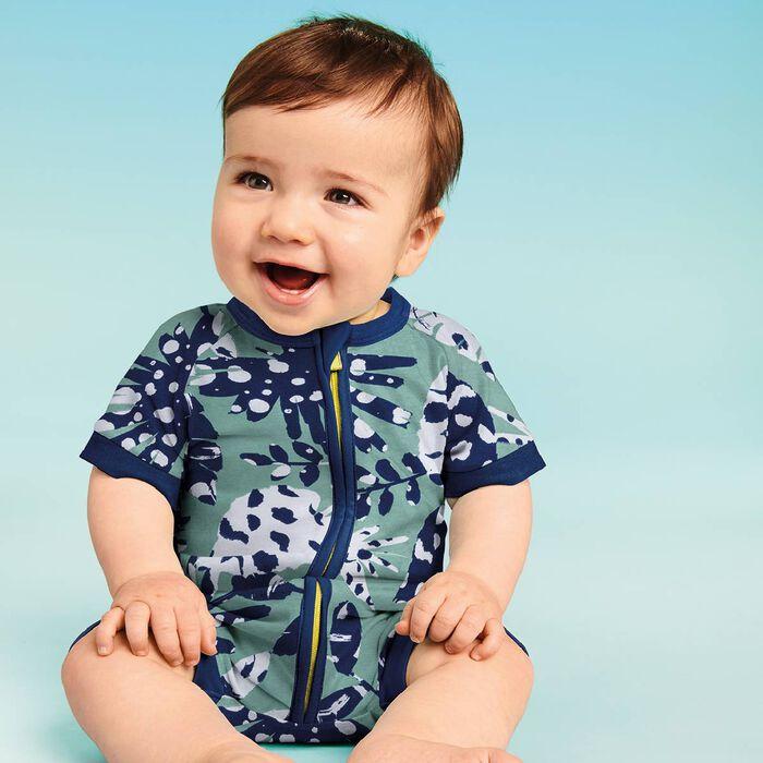 Barboteuse bébé zippée Imprimé Tropical vert DIM Baby, , DIM