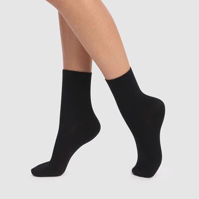 Набор 2шт.: Черные хлопковые короткие носки Green , , DIM