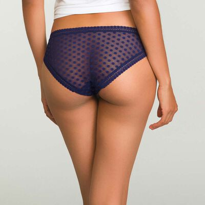 Dim Dotty Mesh Panty Box infinite blue polka dot lace briefs, , DIM