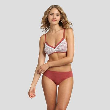 Marsala modal cotton and lace soft triangle bra , , DIM