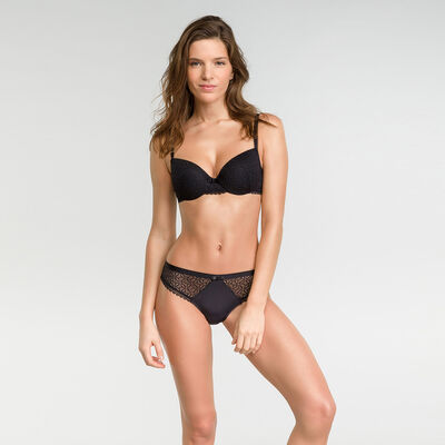 Padded balconette bra in black lace - Dim Daily Glam, , DIM