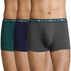 3 pack Men's Stretch Cotton trunks in Pacific Green, Granite and Denim, , DIM