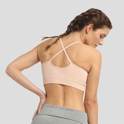 Dim Sport Lightweight Impact seamless bra in almond pink, , DIM