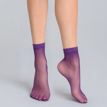 Style midnight purple fishnet low-cut socks - DIM