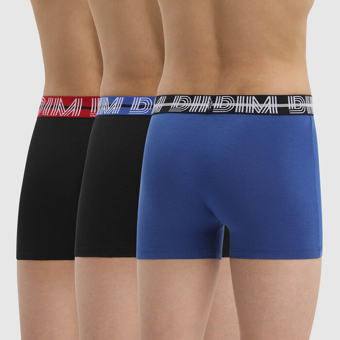 Pack of 3 Ecodim Blue Cotton Stretch Boxers for Boys with Contrast Waistband, , DIM