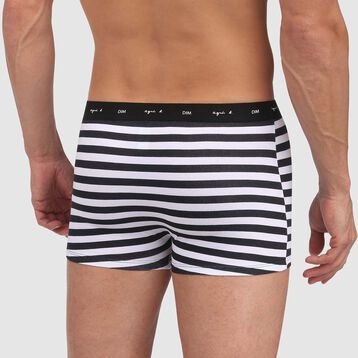 Black trunks in cotton stretch with white stripes Agnes B, , DIM