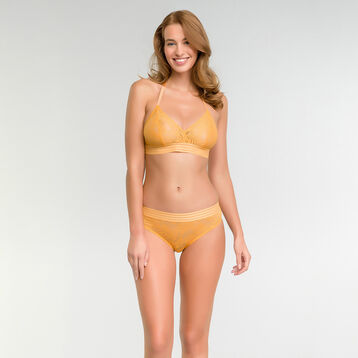 Golden yellow lace wireless triangle bra - MOD de Dim, , DIM