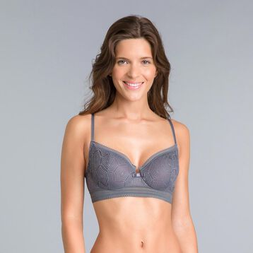 Daily Glam Persian grey lace demi-cup bra - DIM