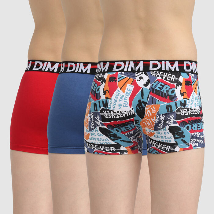 Eco Dim 3D set of 3 boys' black stretch cotton boxers with hero print , , DIM
