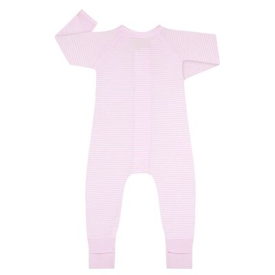 Cotton Stretch Zipped Pyjama with Pink and White stripes Dim Baby, , DIM