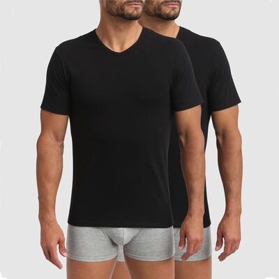 Dim XTemp pack of 2 active thermoregulation V-neck t-shirts in black, , DIM