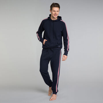 Navy blue pyjama trousers with contrasting stripes - Mix and Match, , DIM