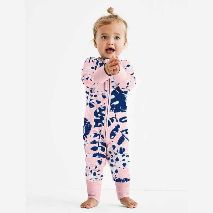 Pink Tropical Print Cotton Stretch Zipped Pyjama Dim Baby, , DIM