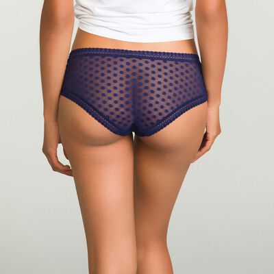 Dim Dotty Mesh Panty Box infinite blue polka dot lace shorties, , DIM