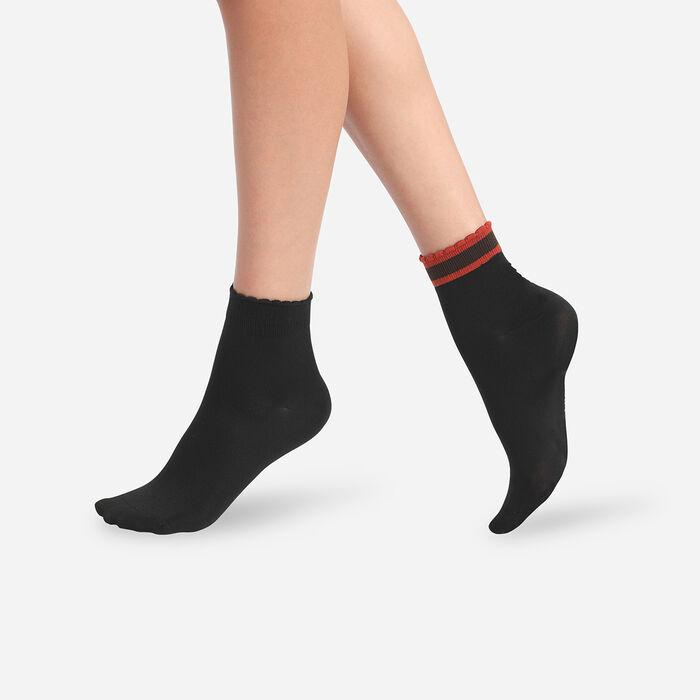 Dim Skin 2 Pairs of Women's Striped Black Socks, , DIM