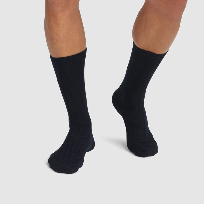Lot de 2 paires de chaussettes homme hautes en viscose Bleu Dim Bambou, , DIM