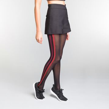 Black and Red Sporty Look 40 Tights - DIM Style, , DIM