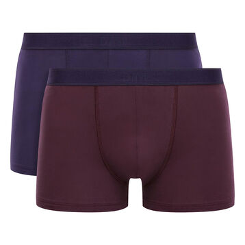 Lot de 2 boxers en Coton Stretch mauve vigne violet velours Soft Power, , DIM