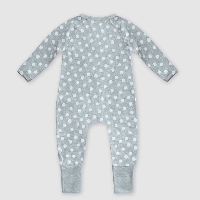 Dim Baby Grey cotton stretch baby pyjama with white polka dot print, , DIM