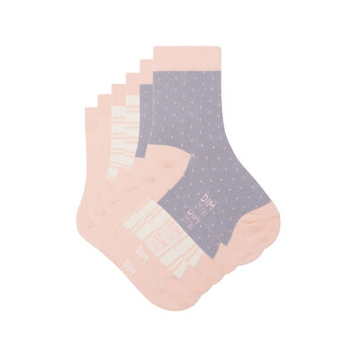 Pack of 3 pairs of Ivory socks with polka dots and  lines Kids Cotton Style, , DIM