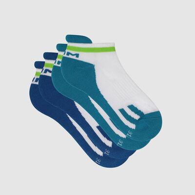 Pack of  2 pairs of retro children's socks Blue Green Dim Sport, , DIM