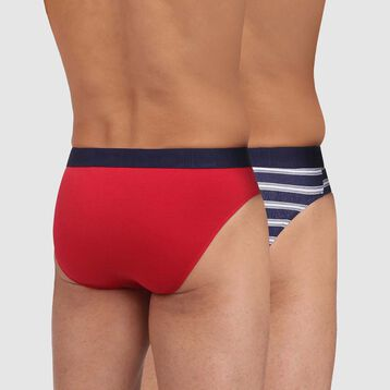 Mix and Fancy 2 pack briefs in topaz red and blue striped print, , DIM